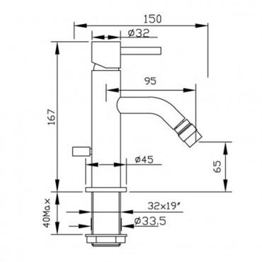 Miscelatore per bidet con scarico Heos 3055