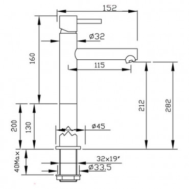Miscelatore per lavabo senza scarico Heos 3002