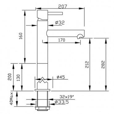 Miscelatore per lavabo senza scarico Heos 3003