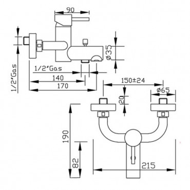 Miscelatore per vasca esterno Heos 3010