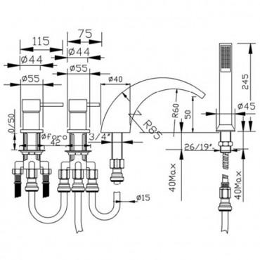 rubinetteria bordo vasca cascata 4 fori Gaboli Flli Rubinetteria