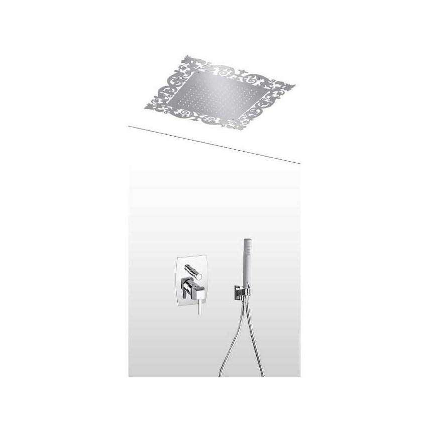 Pomme de douche rétro avec kit de douche et mitigeur intégré AD33