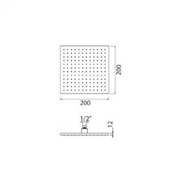 Soffione doccia anticalcare quadrato nero QU510 Gaboli Flli
