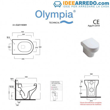 Vaso Back To Wall Clear Olympia Ceramica