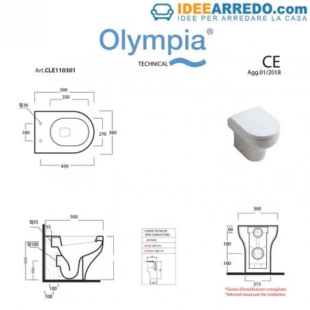 Toilette dos au mur mesure Céramique Olympia transparente