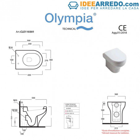 gabinetto filo muro misure Clear Olympia ceramica