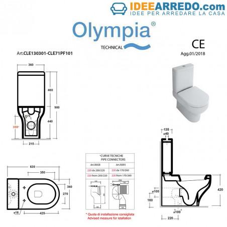 misure wc monoblocco Clear Olympia Ceramica