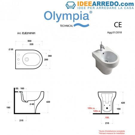 dimensioni bidet a terra Clear Olympia Ceramica