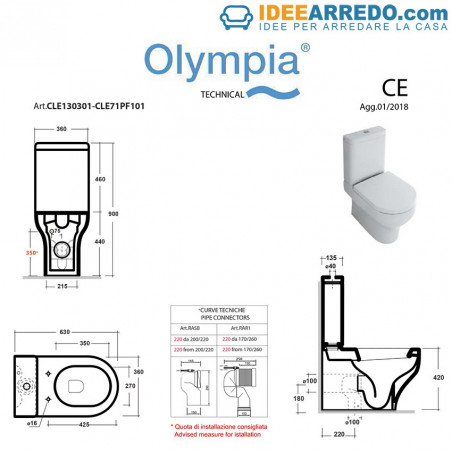 monobloc back to wall toilet Clear Olympia Ceramica