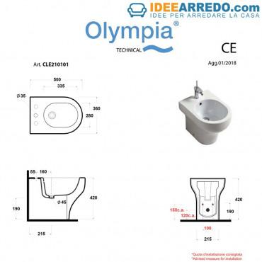 Sanitaires dos au mur Clear Olympia Ceramica