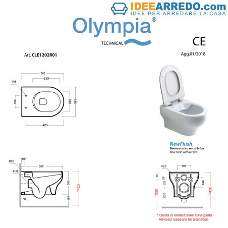 Clear Olympia Ceramica sanitary dimensions