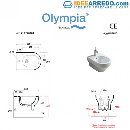 Clear Olympia Ceramica suspended sanitary assembly
