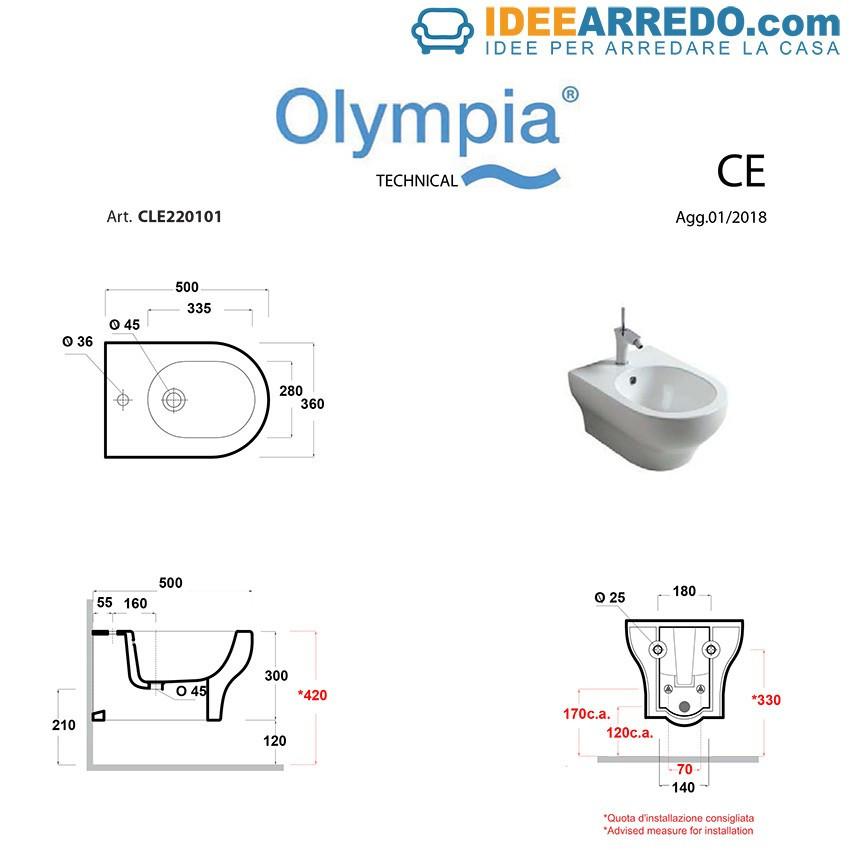 Maße Bidet und WC Klar Olympia Ceramica