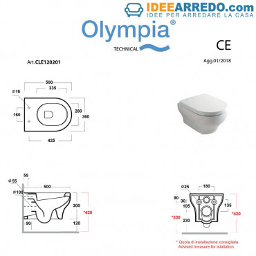 height of suspended sanitary ware Clear Olympia Ceramica