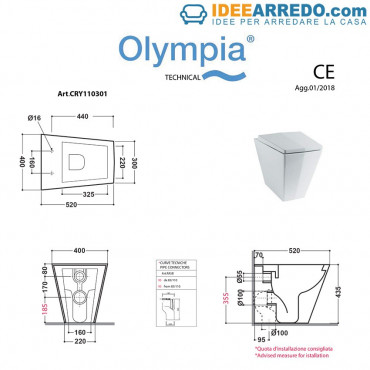 back to wall toilet Crystal Olympia ceramica