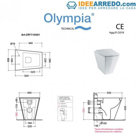 wc a terra filo muro Crystal Olympia ceramica
