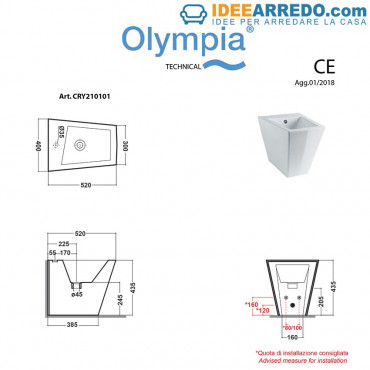 back to wall Bidet Maße Crystal Olympia Ceramica