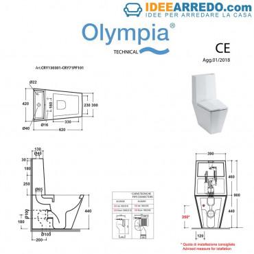 dimensions monobloc toilet Crystal Olympia Ceramica