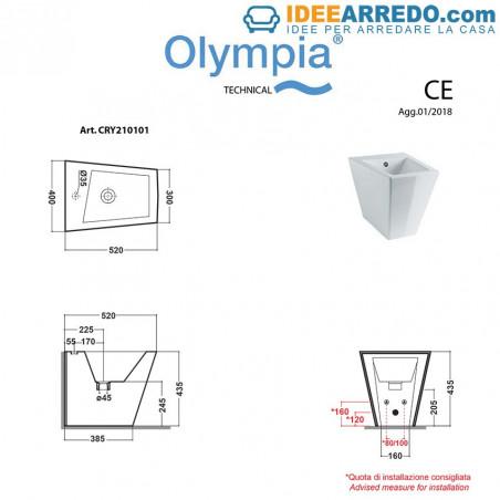 Mesures du bidet Crystal Olympia Ceramica