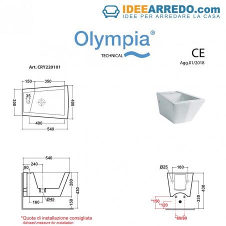 dimensioni bidet sospesi Crystal Olympia Ceramica