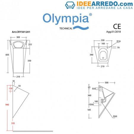 orinatoio a muro scheda tecnica Crystal Olympia Ceramica