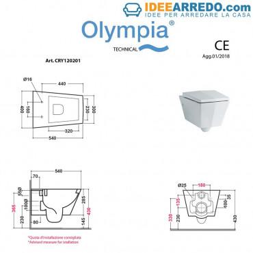 WC suspendu Crystal Olympia Ceramica