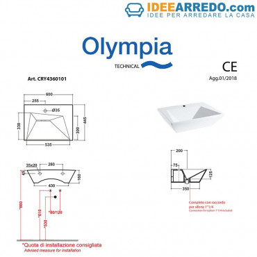 Lavabo sospeso Crystal Olympia Ceramica