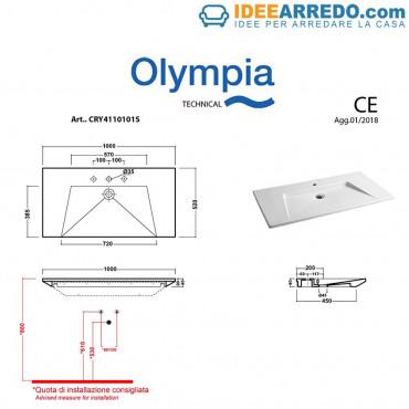 Lavabo sospeso design 100 cm Crystal Olympia