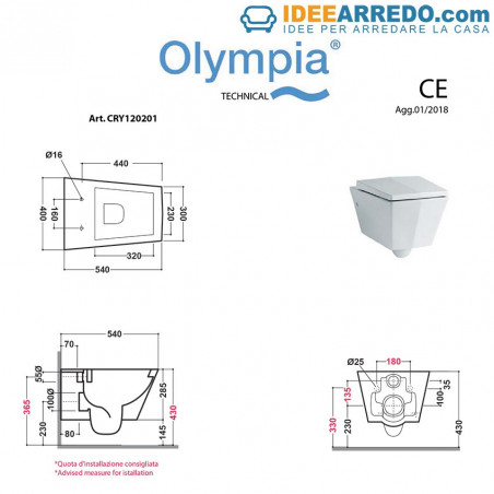Taille des toilettes suspendues en cristal