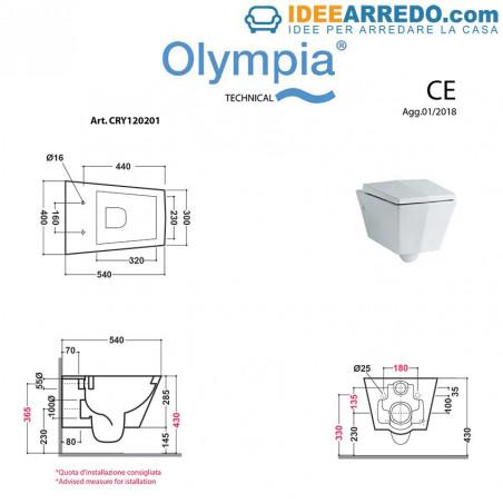Dimensions des toilettes suspendues Crystal Olympia Ceramica