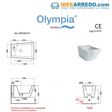 Prix bidet suspendu dimensions Crystal Olympia Ceramica