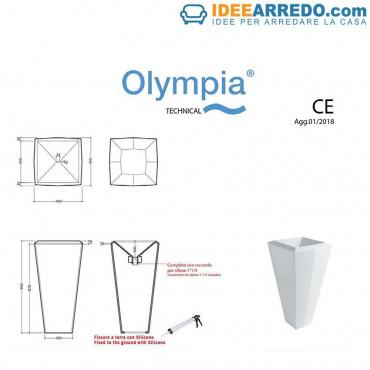 fiche technique évier sur pied Crystal Olympia Ceramica