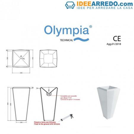 ficha técnica del fregadero de pie Crystal Olympia Ceramica
