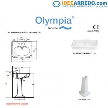 Lavandino bagno classico Impero 70 cm Olympia Ceramica