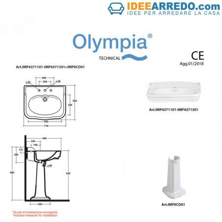 classic pedestal washbasin 70 technical sheet Impero Olympia Ceramica