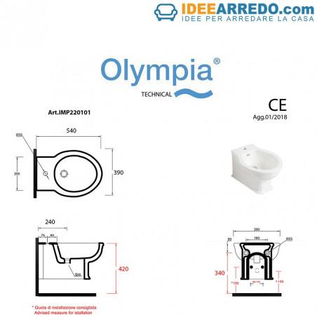 dimensions bidet suspendu Impero Olympia Ceramica