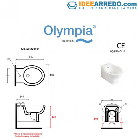 Maße wandhängendes Bidet Impero Olympia Ceramica