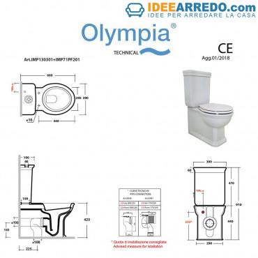 Vaso monoblocco filo muro classico Impero Olympia
