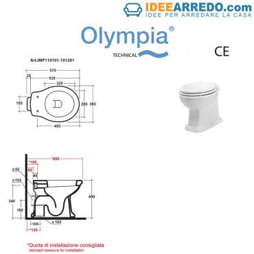 Technisches Datenblatt für klassische Toiletten Impero Olympia Ceramica