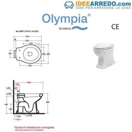 hoja técnica inodoro de estilo clásico Impero Olympia Ceramica