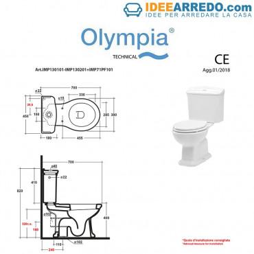 Vaso monoblocco bagno vintage Impero Olympia Ceramica