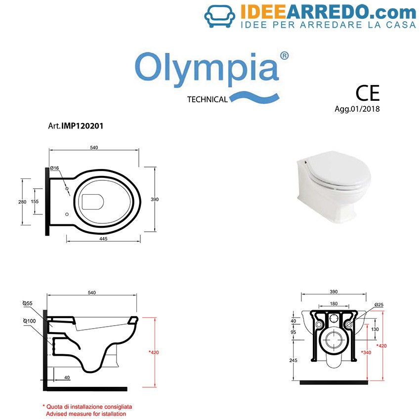sanitari sospesi scheda tecnica Impero Olympia Ceramica