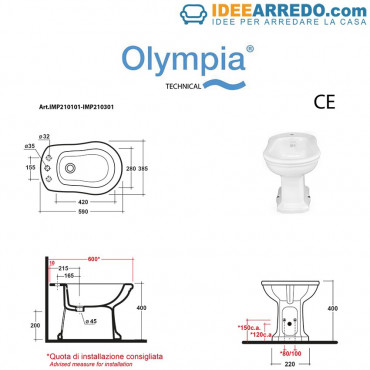 fiche technique siphon de sol ou de mur de bidet Impero Olympia Ceramica