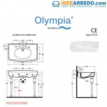 Technisches Datenblatt Vintage-Waschtische 100 Impero Olympia Ceramica