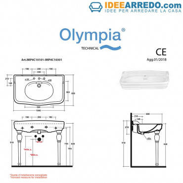 fiche technique lavabos vintage 100 Impero Olympia Ceramica