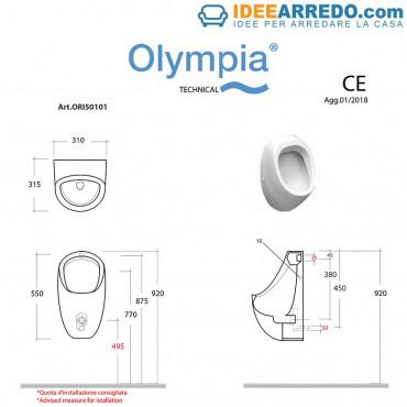 urinal price measures Olympia Ceramica