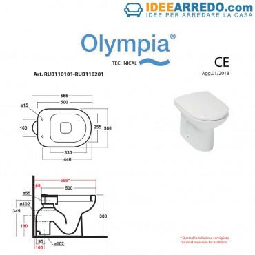 fiche technique toilettes espacées Rubino Olympia ceramica
