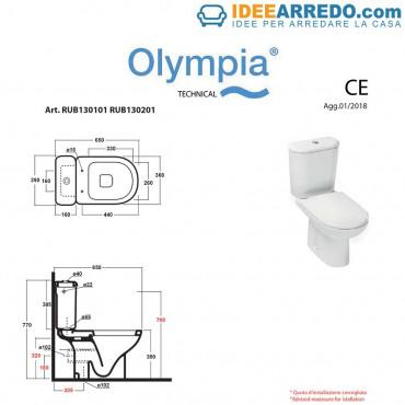 hoja técnica inodoro monobloque Rubino Olympia Ceramica