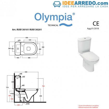 fiche technique toilettes monobloc Rubino Olympia Ceramica