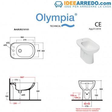 bidet monotrou mesure Rubino Olympia Ceramica